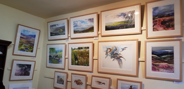 Prints in the dining room gallery at Beech House, Askrigg, Yorkshire Dales